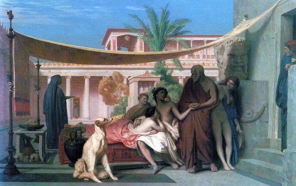 """Niewiele wiadomo o życiu Aspazji. Na pewno związana była z Peryklesem, ateńskim wodzem, który porzucił dla niej własną żonę. Przez jej wpływ na polityka, obywatele Aten oskarżali ją o uprawianie nierządu. Na ilustracji obraz Jean-Léona Gérôme'a """"Sokrates szukający Alcybiadesa w domu Aspazji"""" (1861)."""