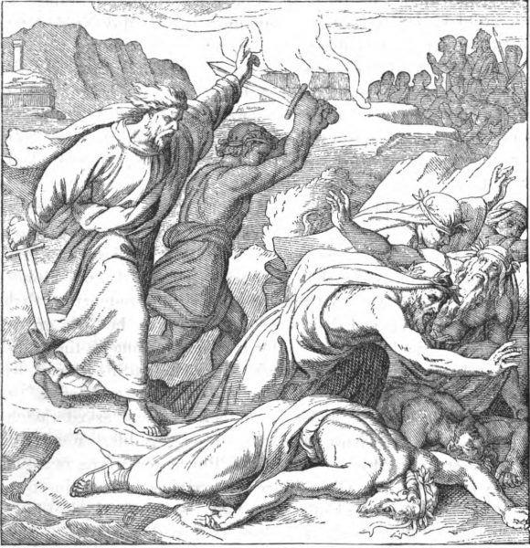 Eliasz zabijający proroków Baala. Rycina biblijna z XIX wieku