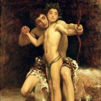 """Pederastia to specyficzna forma homoseksualizmu męskiego. Starożytni nie tylko ją uprawiali, ale i uważali za wynalazek równy filozofii. Na ilustracji fragment obrazu Fredericka Leightona """"The Hit""""."""