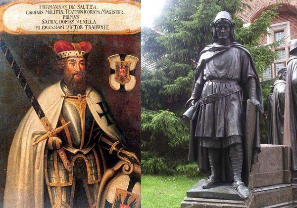 To wielki mistrz Hermann von Salza był faktycznym twórcą potęgi zakonu. Na ilustracji po lewej fragment z kroniki niemieckiej, na zdjęciu po prawej - pomnik wielkiego mistrza na Zamku krzyżackim w Malborku.