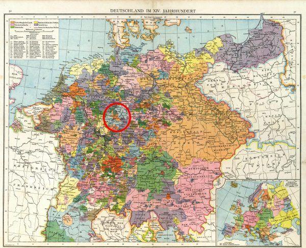 Hesja na mapie XIV-wiecznych Niemiec