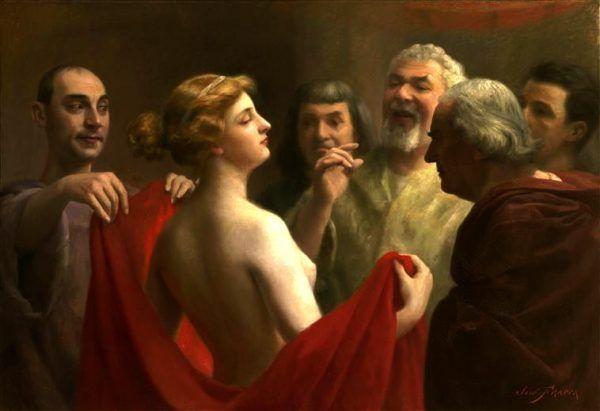 Seks w starożytnych Atenach był jedynym momentem, w którym światy kobiecy i męski ulegały zetknięciu. Żony jednak przegrywały tu na głowę ze słynnymi greckimi prostytutkami... Na ilustracji obraz pędzla José Frappy przedstawiający scenę sądu nad heterą.