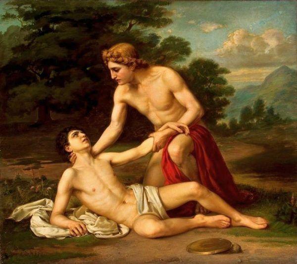 Homoseksualne związki zdarzały się nie tylko ludziom, ale i greckim bogom. Według mitologii ukochanym boga Apollina był piękny młodzieniec Hiacynt, zamordowany z zazdrości przez innego boga, Zefira. Obraz Alexandra Kiseleva.