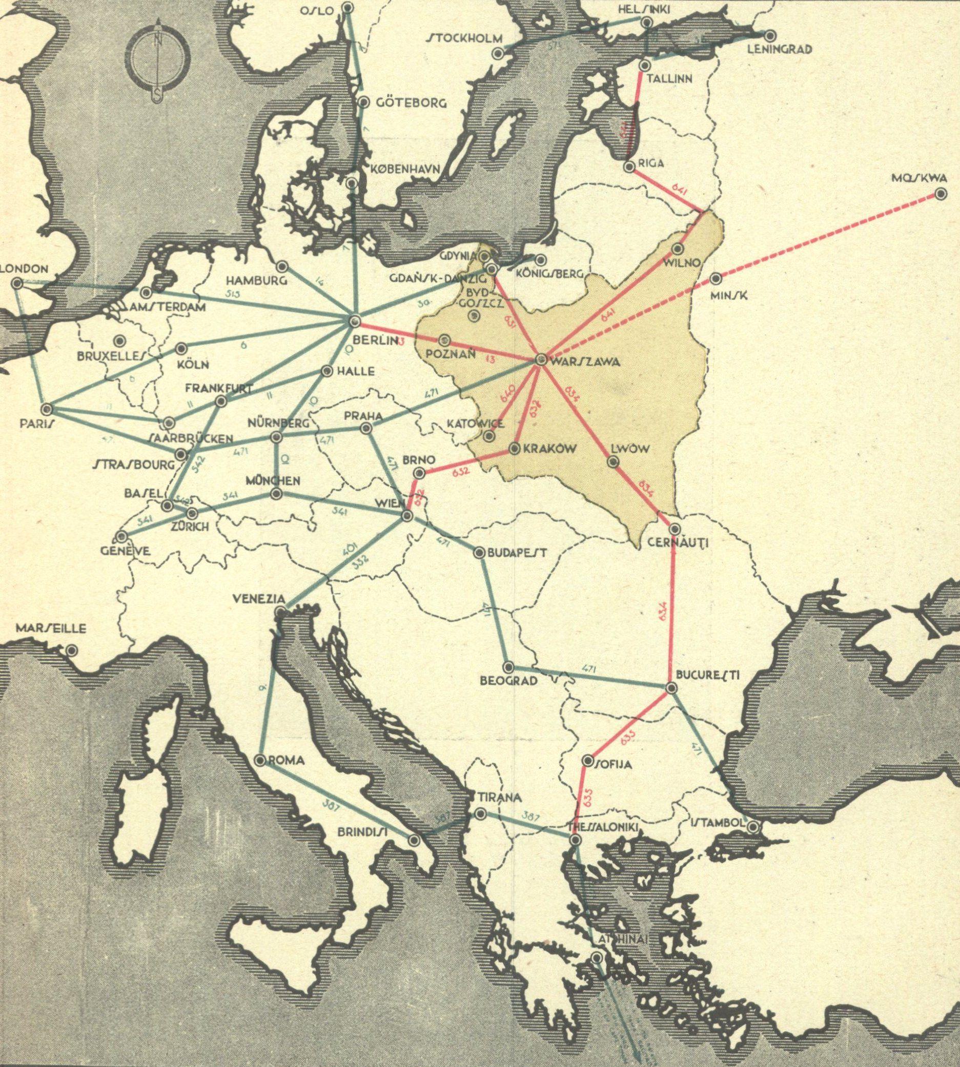 Mapa połączeń lotniczych z 1934 roku. Kolorem czerwonym te obsługiwane przez LOT.
