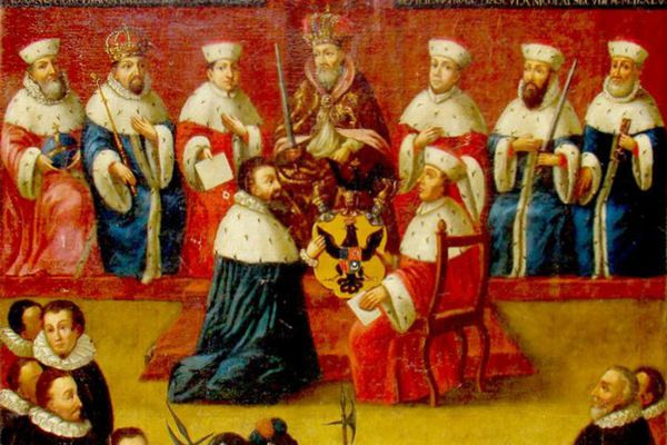 """Mikołaj Radziwiłł """"Czarny"""" przyjmujący od cesarza tytuł książęcy. Jego największe marzenie się spełniło."""