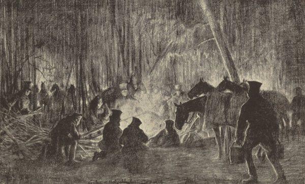 Żołnierzy II Brygady czekały w Karpatach trudne warunki i krwawe walki z Rosjanami. Na ilustracji rysunek Józefa Ryszkiewicza przedstawiający nocleg legionistów.