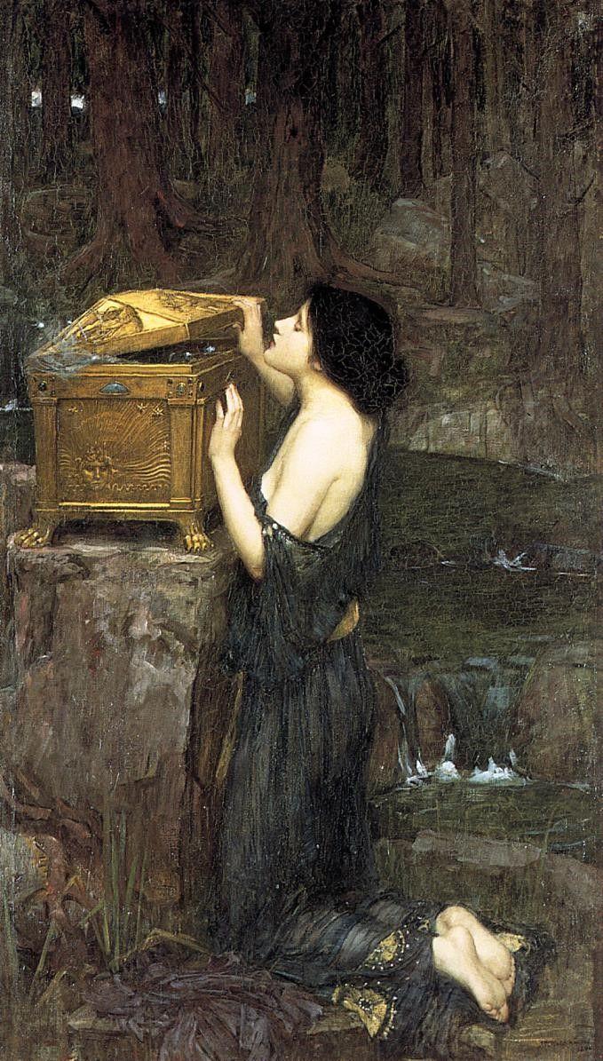 """""""Pandora"""" pędzla Johna Williama Waterhouse'a (1896). Nie tylko w Biblii, ale i w greckiej mitologii kobieta uchodzi za źródło zła i nieszczęść."""