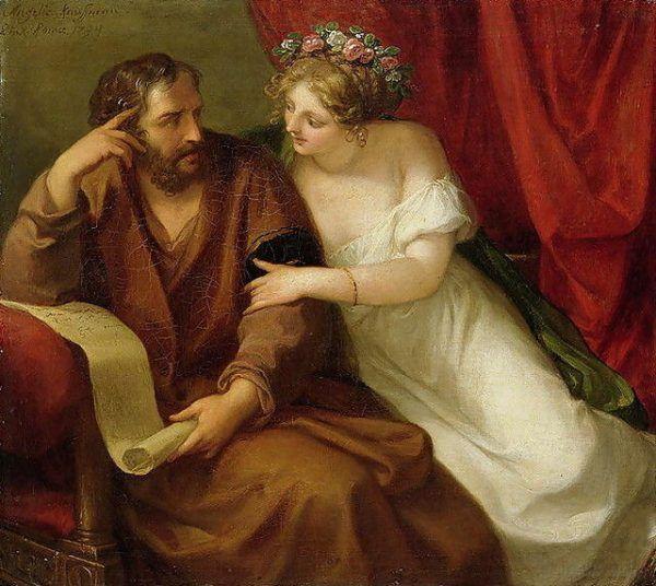 Starożytni Grecy byli monogamistami tylko oficjalnie. W praktyce Ateńczyk prócz żony mógł posiadać konkubinę, a jednocześnie korzystać z usług prostytutek i niewolników. Na ilustracji obraz Angeliki Kauffmann przedstawiający Fryne, najsłynniejszą antyczną heterę.