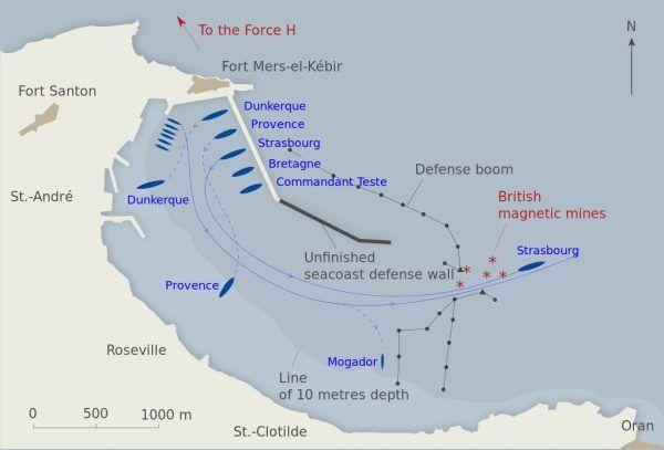 Plan ataku Royal Navy na francuska flotę w Mers-el-Kebir.