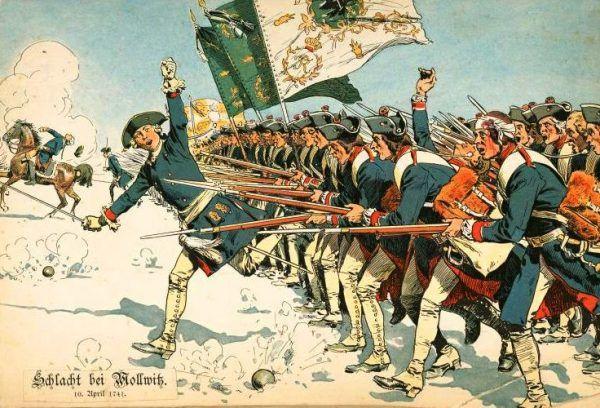 Karne oddziały, które potrafiły wytrzymać morderczy ogień i dotrzeć do linii wroga były uważane za najlepiej wyszkolone. Na ilustracji pruska piechota podczas bitwy pod Małujowicami.