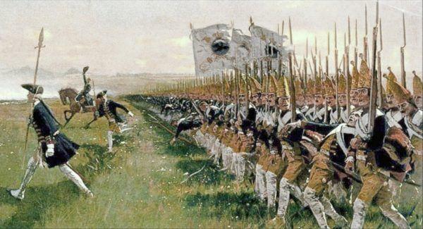 Mistrzami wpajania rekrutom ślepego posłuszeństwa byli Prusacy. Na ilustracji obraz Carla Röchlinga przedstawiający atak pruskiej piechoty pod Hohenfriedeberg.