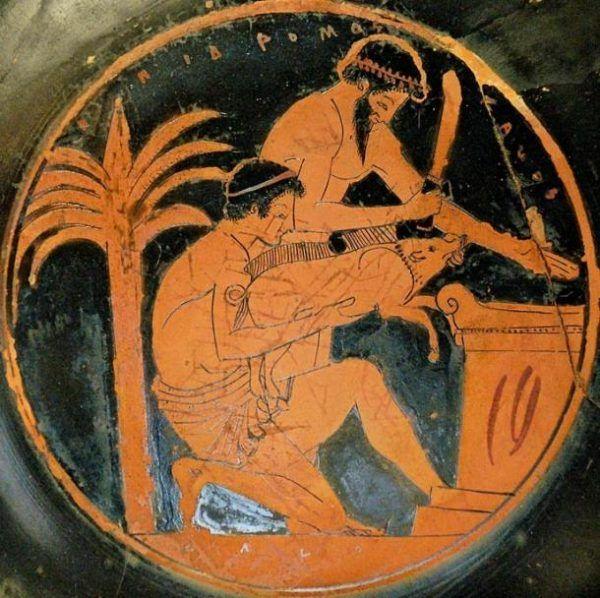 Niektóre sposoby antycznych na miłość budzą śmiech, inne grozę, a jeszcze niektóre prawdziwe obrzydzenie... Na ilustracji malowidło z czerwonofigurowego pucharu przedstawiający jeden ze starożytnych rytuałów.