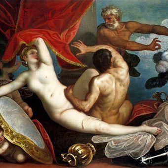 """Antyczny świat był pełen paradoksów. Z jednej strony pederastia i prostytucja, z drugiej - okrutne kary za zdradę. Na ilustracji obraz Alessandra Varotari """"Wenus i Mars przyłapani przez Wulkana"""" (1631)."""