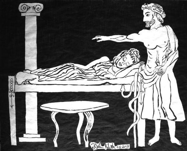 Starożytni na różne sposoby próbowali zapobiegać niechcianej ciąży. Gdy jednak doszło już do zapłodnienia, nie wahali się wywoływać poronienia i dokonywać aborcji. Na ilustracji malowidło przedstawiające Asklepiosa, mitologicznego boga medycyny.