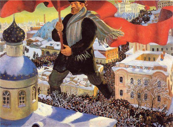 Bolszewicka rewolucja przypieczętowała to, do czego stopniowo doprowadzał Rasputin: upadek carskiej Rosji. Na ilustracji karykatura Borysa Kustodijewa.