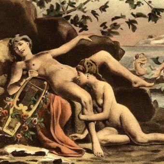 """Czy rzeczywiście starożytni widzieli w lesbijkach potwory? Na ilustracji obraz Édouard-Henri'ego Avrila """"Safona i jej seksualne partnerki""""."""