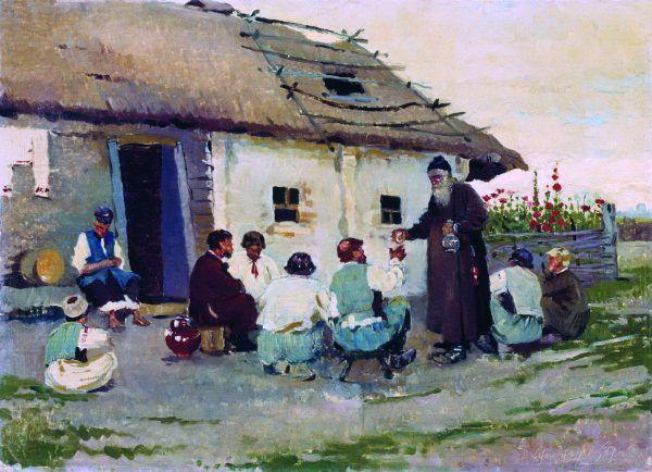 """1,3 litra spirytusu rocznie na głowę? To tylko w carskiej Rosji. Na ilustracji obraz Sergeja Winogradowa """"W karczmie""""."""