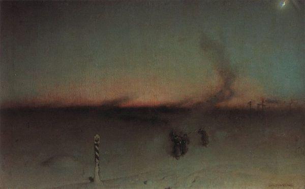 """Syberia była prawdziwie dziką krainą. Romanowowie postanowili jednak wykorzystać jej potencjał, tworząc obszar prawie całkowicie zasiedlony przez skazańców. Obraz Witolda Pruszkowskiego """"Na zesłanie w Sybir""""."""
