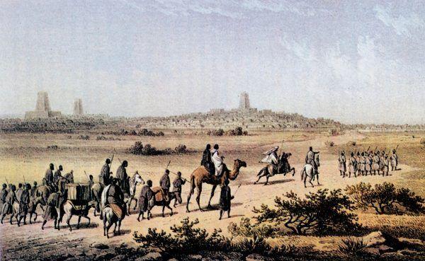 Heinrich Barth był pierwszym, który dokładnie zbadał i opisał Songhaj. Obraz pędzla Martina Bernatza przedstawiający Bartha w drodze do Timbuktu, jednego z miast imperium.