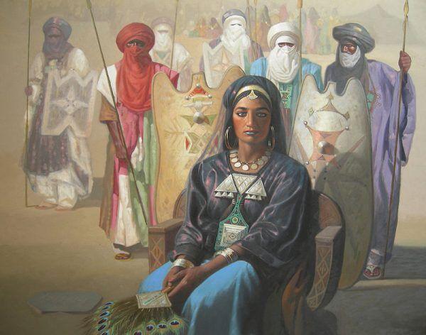 Wśród Tuaregów, założycieli Timbuktu, obowiązywała zasada matriarchatu. Na ilustracji starożytna królowa ludu, który przez tysiące lat zajmował się łapaniem niewolników i ich handlem z Europejczykami.