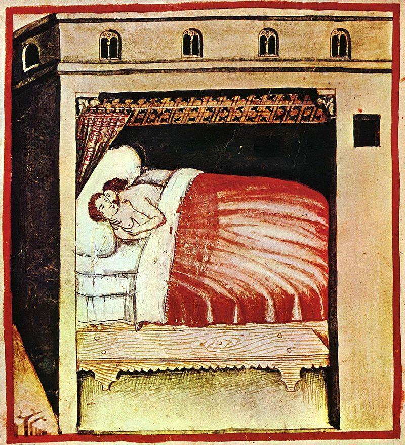 """Noce poślubne polskich władców nie wyglądały niestety tak barwnie, jak chciałby nasz Czytelnik... Ilustracja ze średniowiecznego podręcznika """"Tacuinum Sanitatis""""."""