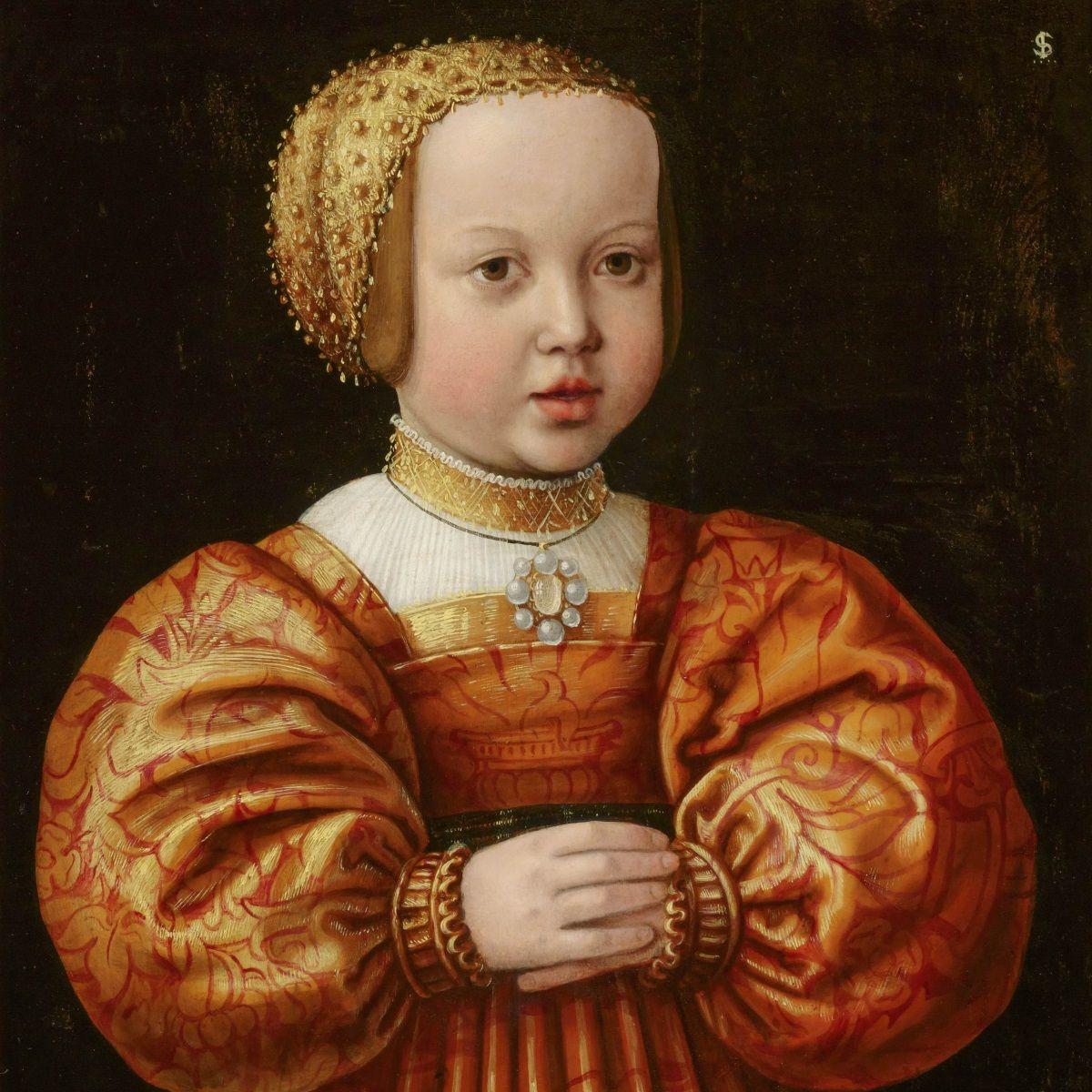 Elżbieta Habsburżanka jako 4-letnie dziecko. Portret pędzla Jakoba Seiseneggera z 1530 roku