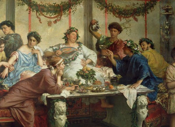 Nie tyle za udział w takiej uczcie, co za samo napicie się wina, Rzymianin miał prawo rozwieść się z żoną. Czasem jednak wolał wymierzyć karę... Na ilustracji obraz Roberta Bompiani.