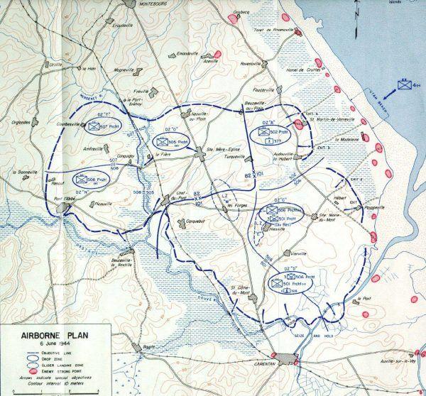 Miejsca lądowań spadochroniarzy na Półwyspie Cotentin