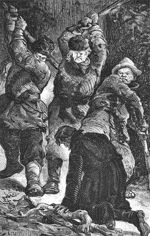 """Czasem nawet i artel nie był w stanie obronić więźniów przed brutalnością nadzorujących ich żołnierzy, a nawet współskazanych. Na ilustracji jeden z """"Obrazków Syberii"""" Michała Elwiro Andriolli'ego."""