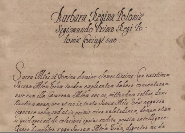 Odpis jednego z listów Barbary Zapolyi do Zygmunta Starego