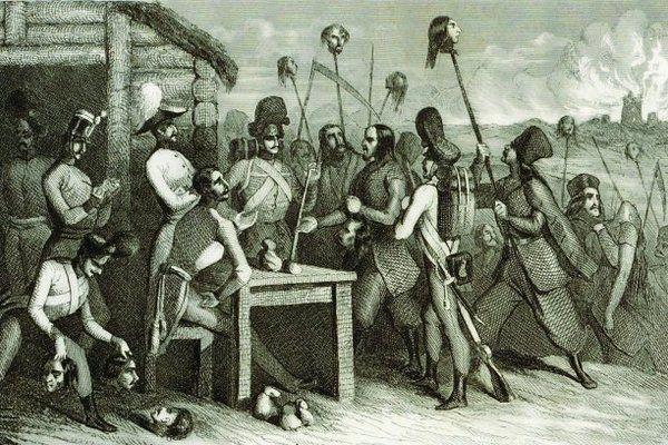 Pański ucisk, chłopska krzywda – tak widzi się relacje między polską szlachta a chłopstwem. Jednak i uciskani potrafili pokazać, że są bezlitośni. Na ilustracji fragment XIX-wiecznego francuskiego stalorytu przedstawiającego rzeź galicyjską.