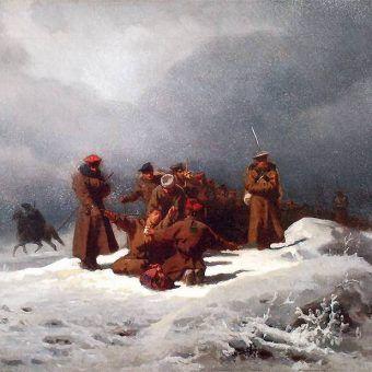 """Zesłańcy na Syberię często tam nie docierali. Podróż do miejsca kaźni okazywała się zabójcza. Obraz Artura Grottgera """"Pochód na Sybir""""."""
