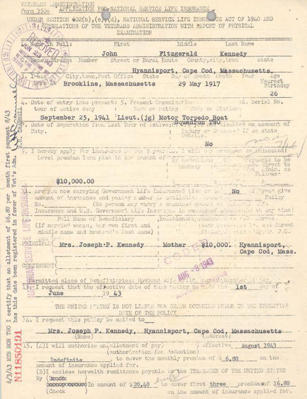 Podanie Johna Fitzgeralda Kennedy'ego o założenie polisy w wysokości 10 tysięcy dolarów