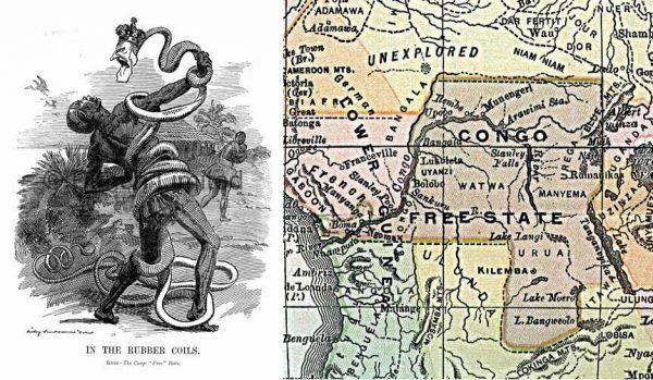 Dopiero w XX wieku zaczęto krytykować zbrodnie Leopolda II w Kongu Belgijskim. Na ilustracji po lewej karykatura E.L. Sambourne'a przedstawiająca króla jako węża atakującego tubylców, po prawej - mapa Wolnego Państwa Konga pod koniec XIX wieku.