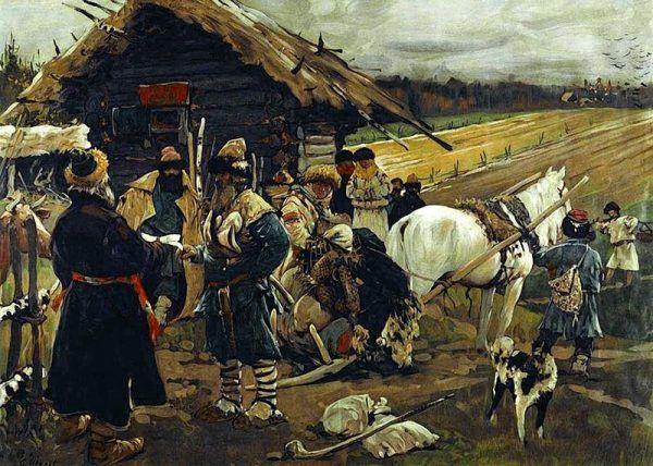 """Obraz Sergieja Iwanowa """"Chłopi opuszczający swoje ziemie"""". Bieda panująca na wsi, zmuszała niektórych do migracji. Warunki życia w miastach nie okazywały się jednak lepsze."""