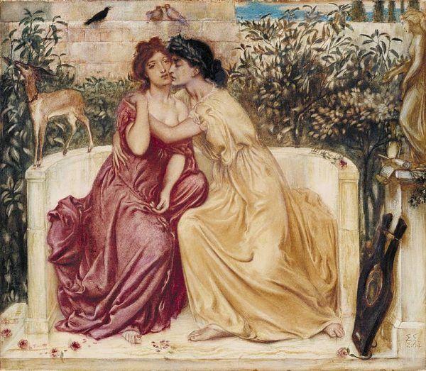 W seksualnych kontaktach między kobietami, jedna z nich musiała pełnić rolę aktywną. A to było dla starożytnych nie do pojęcia. Kobiety traktowane były bowiem jako istoty bierne. Na ilustracji obraz Simeona Solomona.