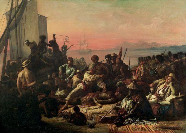 """Handel niewolnikami na obszarze Oceanu Atlantyckiego zapoczątkowali w XVI wieku Portugalczycy. Ale to Anglicy wiedli prym w transporcie czarnych z Afryki do Ameryki. Na ilustracji obraz François-Auguste Biarda """"Handel niewolnikami""""."""