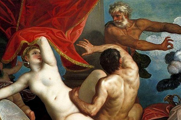 """Antyczny świat był pełen paradoksów. Z jednej strony pederastia i prostytucja, z drugiej – okrutne kary za zdradę. Na ilustracji obraz Alessandra Varotari """"Wenus i Mars przyłapani przez Wulkana"""""""