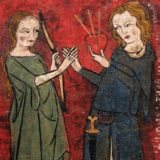XIV-wieczne niemieckie malowidło przedstawiające scenę miłości dworskiej