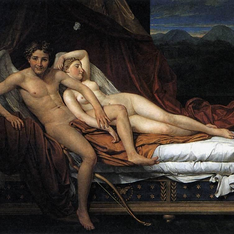 """Jeśli antyczny seks kojarzy się Wam z tym co ogromne, nic bardziej mylnego. Starożytni cenili sobie bowiem zarówno małe biusty, jak i niewielkie penisy. Obraz Jacques-Louisa Davida """"Kupid i Psyche""""."""