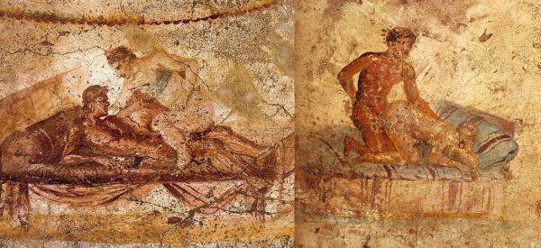 Rzymianie nie tylko sami zabawiali się ze swymi niewolnikami, ale często i zmuszali ich do seksu między sobą, by napawać się perwersyjnym widokiem. Na ilustracji fragmenty pompejskich fresków.