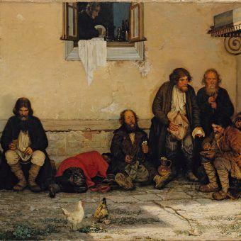 Bród, smród i głód. Tak w skrócie można określić warunki życia rosyjskiego chłopstwa w czasach caratu. Na ilustracji fragment obrazu Grigorija Mjasojedowa.