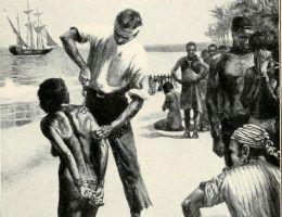 """Wielka Brytania handlowała żywym towarem przez ok. 300 lat, wyprzedzając w tym niemal wszystkie inne europejskie państwa. Rysunek z książki """"The Negro in American history"""" (1914)."""