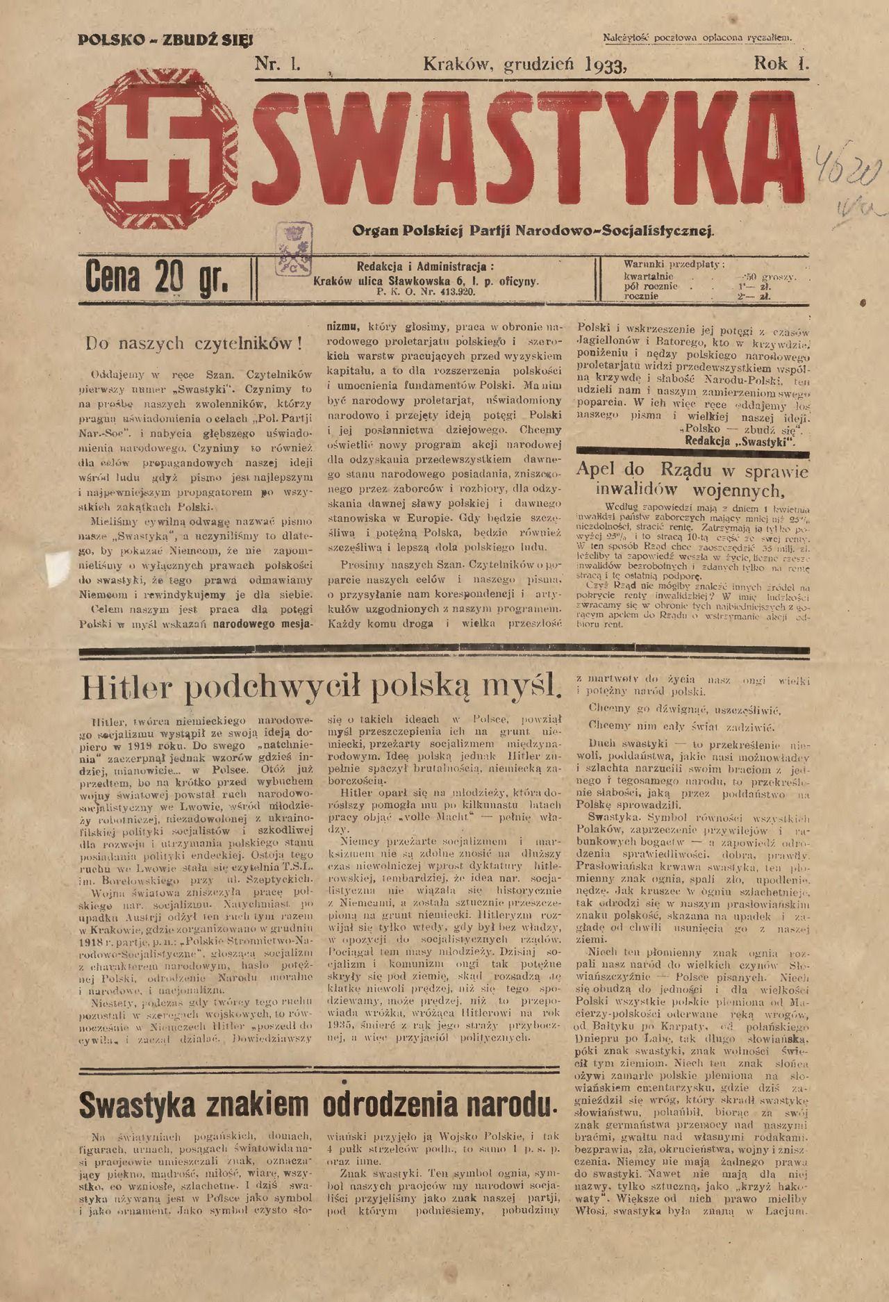 """Polskie narodowo-socjalistyczne partie polityczne miały często własne piśmiennicze organy. Na ilustracji pierwsza strona krakowskiej """"Swastyki"""", która - wbrew nazwie - była jednym z mniej radykalnych czasopism."""