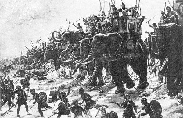 """Henri-Paul Motte """"Bitwa pod Zamą"""" (1890). Właśnie to starcie przesądziło o klęsce Kartaginy. Hannibal latem 202 roku p.n.e. przegrał w Afryce z siłami Scypiona Starszego."""