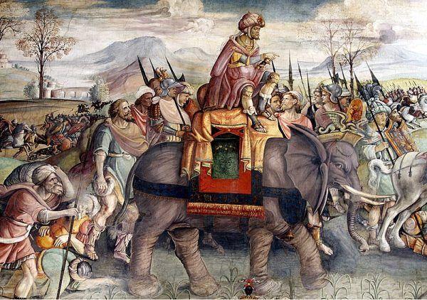Powstała w fenickiej kolonii w Afryce Północnej Kartagina zaciekle walczyła z Rzymem, przez ponad sto lat, o gospodarcze i polityczne wpływy w basenie Morza Śródziemnego. Obraz przedstawiający oddział Hannibala w trakcie II wojny punickiej.