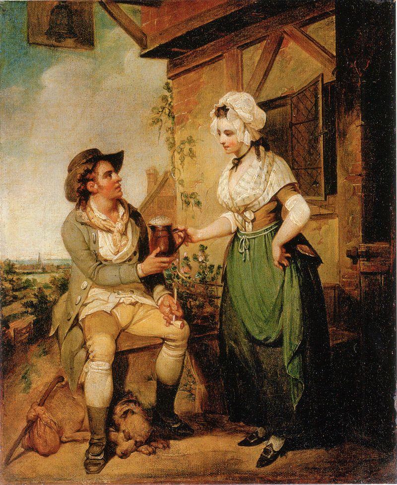 """Picie alkoholu było ulubioną formą spędzania czasu przez średniowiecznych Anglików. Obraz Henry'ego Singletona """"The Ale-House Door""""."""