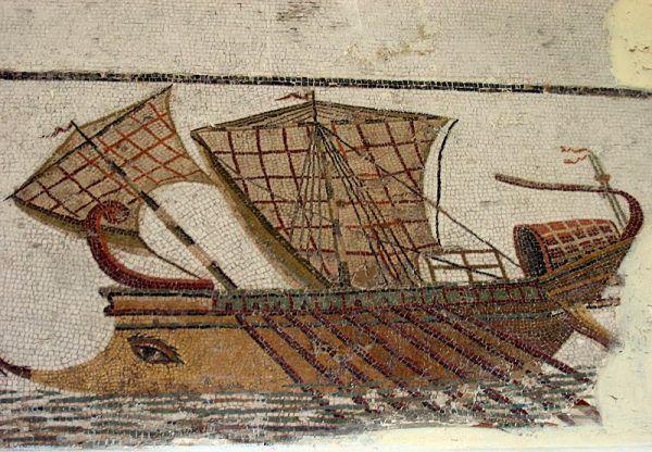 Aby pokonać Kartagińczyków, Rzymianie postanowili stworzyć własną flotę. Na ilustracji rzymski statek zwany triremą (łac. trireme).