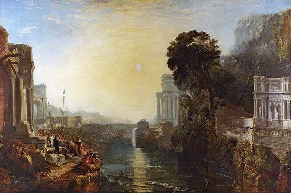 """Kartagina była republiką oligarchiczną, rządzoną przez rody arystokratyczne (np. ród Barkas). Podległym ludom nie nadawano równych praw politycznych. Obraz Turnera """"Powstanie Imperium Kartagińskiego""""."""