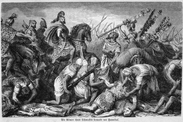 Hannibal, sam w centrum bitewnej zawieruchy, zagrzewał do boju swoich żołnierzy.